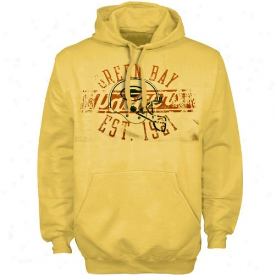 Green Bay Hoodys : Reebok Green Bay Gold Flank Formation Pigment Dyed Hoodys