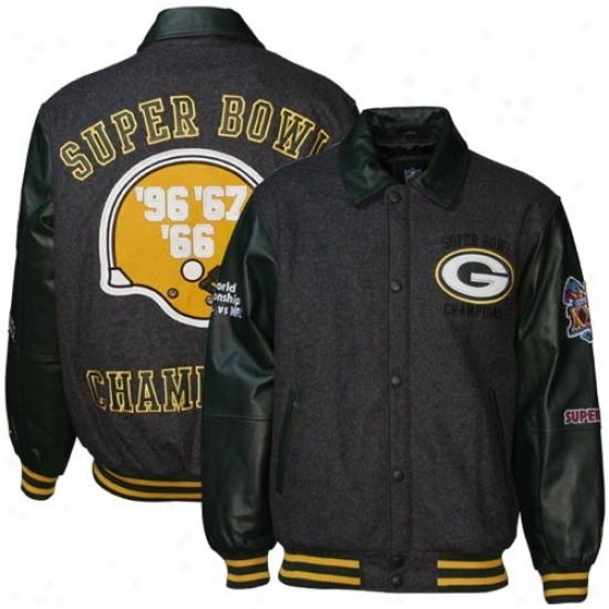 Green Bay Jacket : Green Bay Charcoal Wool/leather Super Bowl Champions Commemorative Jaket