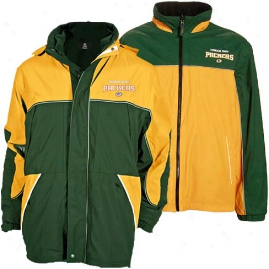 Green Bight Jacket : Green Bay Green-gold Quadrant Outer Shell Quite Zip Heavyweight Reversible Jacket