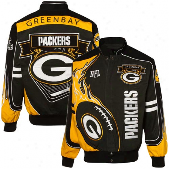 Green Bay Jacket : Mitchell & Ness Green Bay Green-gold-black Redzone Cotton Twill Full Button Jacket