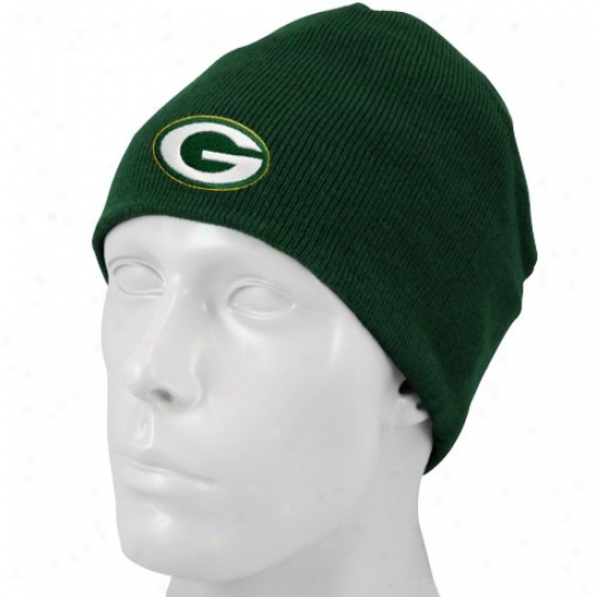 Green Bay Merchandise: Reebok Green Bay Green Basic Logo Youth Knit Beanie