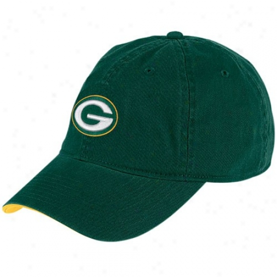 Green Bay Merchandise: Reebok Green Bay Green Basic Team Logo Hat