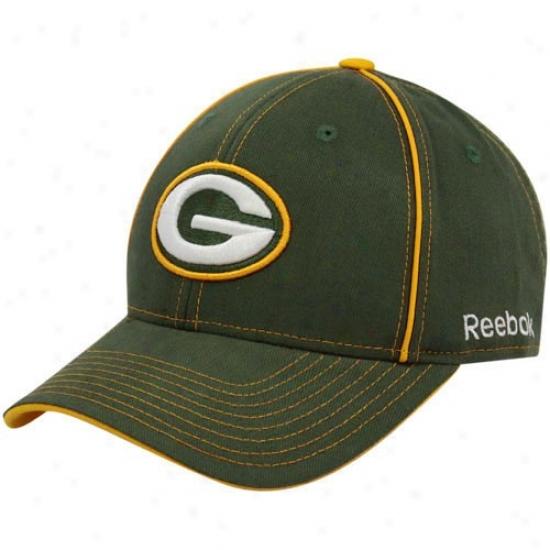 Green Bay Merchandise: Reebok Green Bay Green Structured Adjustable Hat