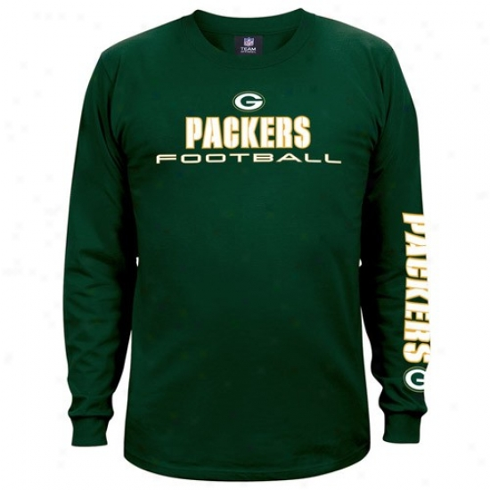 Green Bay Packer Apparel: Flourishing Bay Packer Green Team Shine Lon gSleeve T-shirt