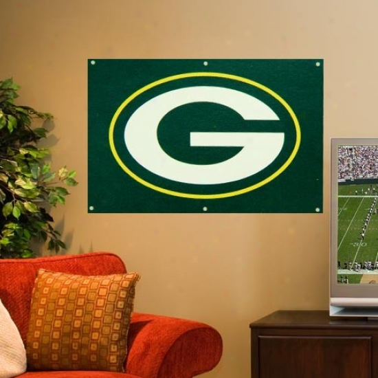 Green Bay Packer Banners : Green Bay Packer 2' X 3' Inexperienced Applique Logo Fan Banners