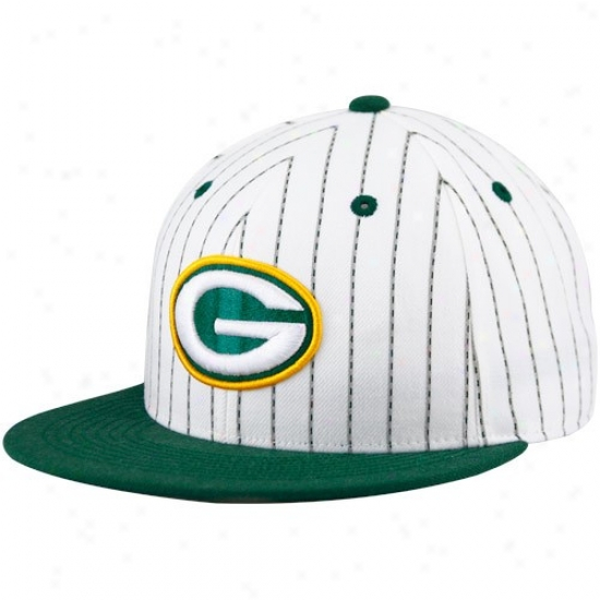Green Bay Packer Caps : Reebok Green Bay Packer White-green Pinstripe Pro Shape Flat Note Fitted Caps