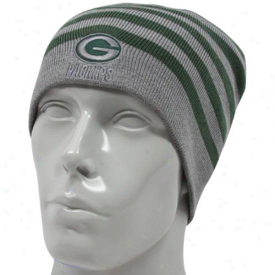 Green Bay Packer Caps : Reebok Green Bay Packer Green-gray Reversible Knit Beanie