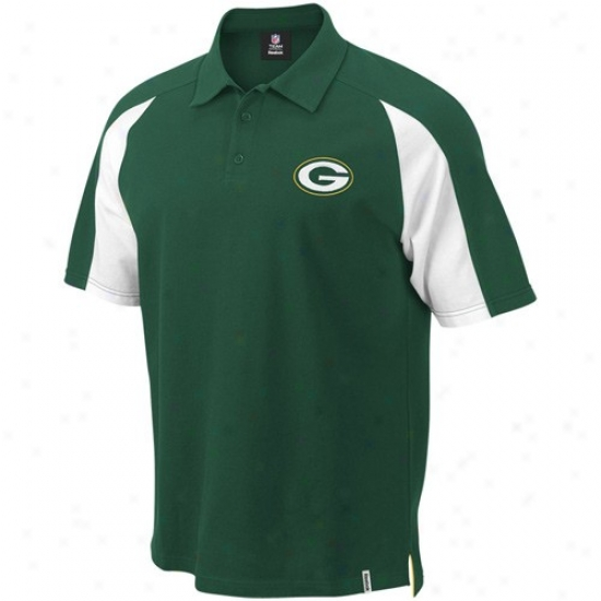 Green Bay Packer Clothees: Reebok Green Bay Packer Green Stealth Pique Polo
