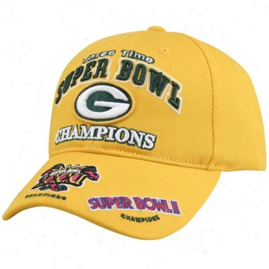 Green Bay Packer Gear: Reebok Green Bay Packer Gold 3x Shper Bowl Champions Hat