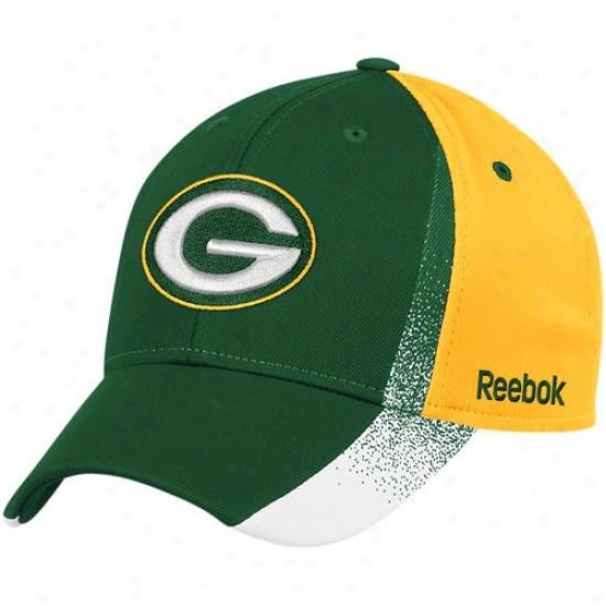 Verdant Bay Packer Hat : Reebok Green Bay Packer Green-gold Spray Paint Structured Flex Fit Hat