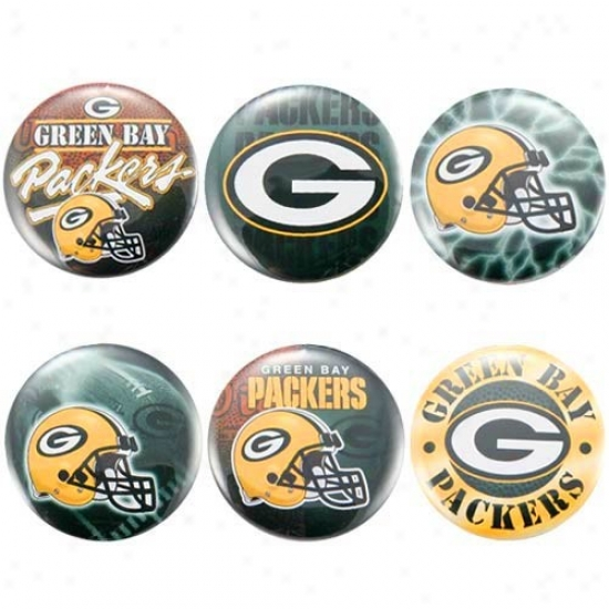 Green Bay Packer Hats : Green Bay Packer 6-pack Team Buttons