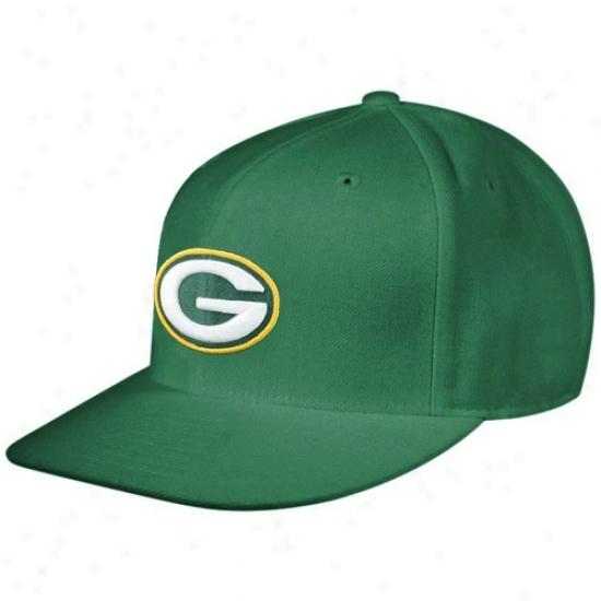 Green Bay Packer Hats : Reebok Green Bay Packer Geen Sideline Flat Bill Fitted Hats