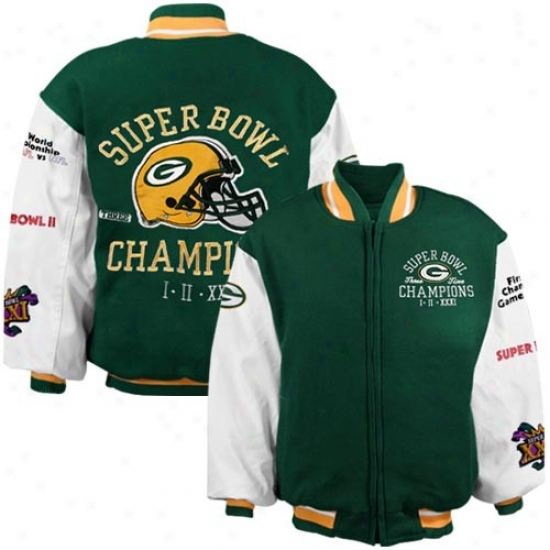 Green Bay Packer Jacket : Reebok Green Bay Packer Youth Green 3-time Super Bowl Champipns Reversible Heavyweight Jacket