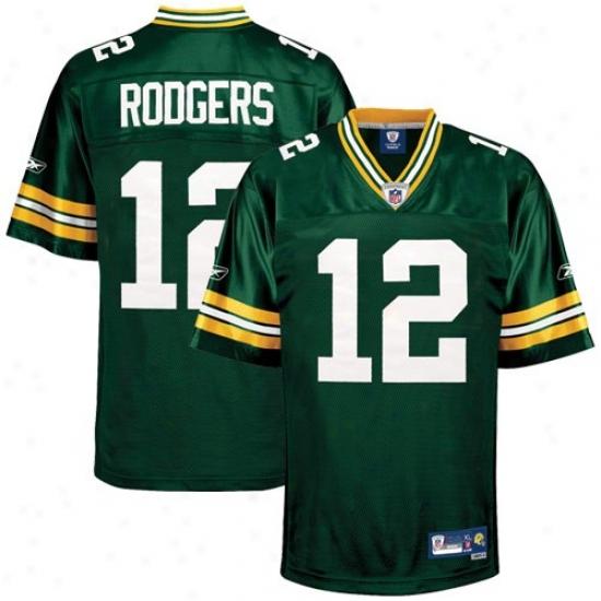 Green Bay Packer Jersey : Reebok Nfl Equipment Green Bay Packer #12 Aaron Rodgers Green Premier Tackle Twill Jersey