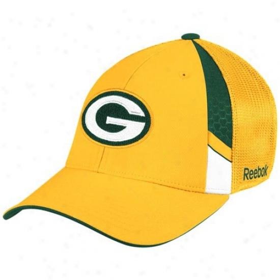 73ededdae Green Bay Packer Merchandise  Reebok Green Bay Packer Youth Gold Draft Day  Flex Fit Hat
