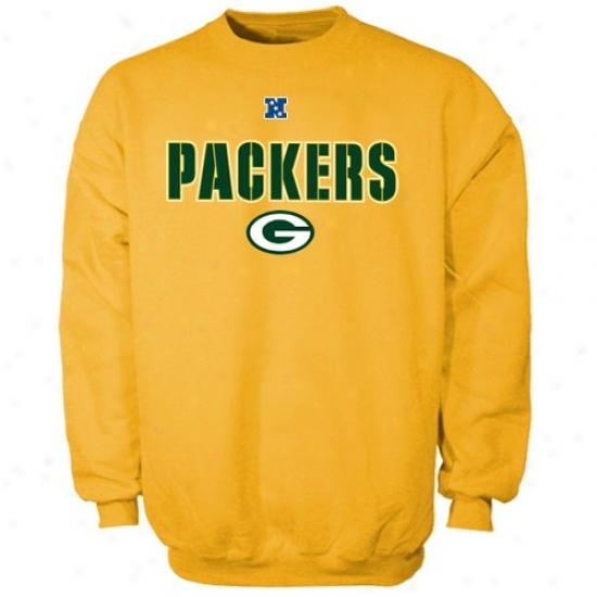 Green Bay Packer Sweat Shirt : Green Bay Packer Gold Critical Victory Iii Crew Sweat Shirt
