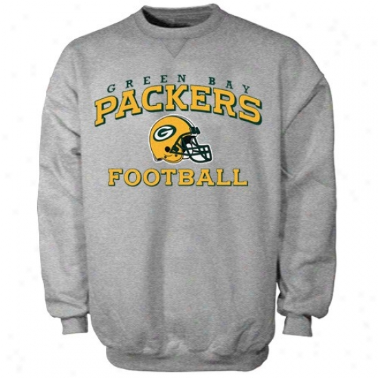 Green Bay Packer Sweatshirts : Reebok Green Bay Packer Ash Stacked Helmet Sweatshirts