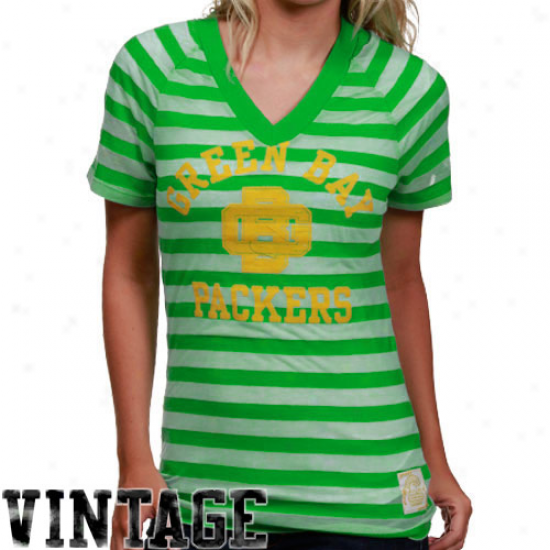Green Bay Packer T-shirt : Reebok Green Bay Packer Ladies Flourishing Retro Burnout Stripe T-shirt