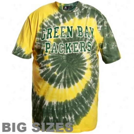 Green Bay Packer Tshirtt : Green Bay Packer Yellow-green Tie Dye Big Sizes Tshirt