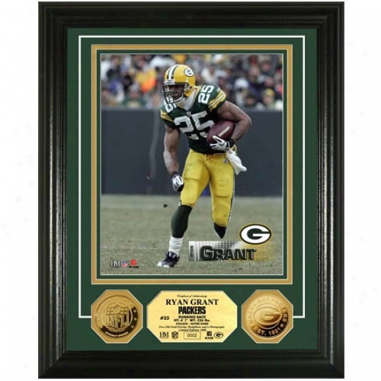 Green Bay Packers #25 Ryan Grant 24kt Gold Player Photomint