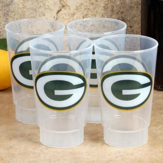 Verdant Bay Packers 4-pack 16oz. Plastic Cups