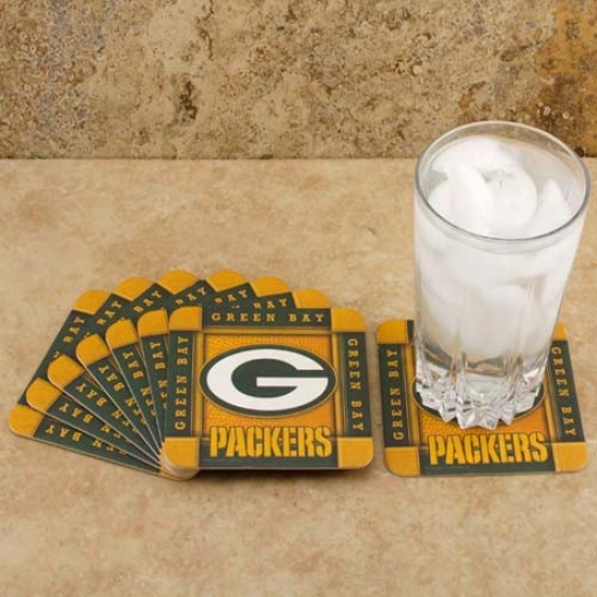 Green Laurel-crown Packerx 8-pack Absorbent Paperkraft Coasters