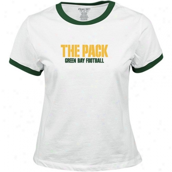Green Bay Packers Apparel: Reebok Green Bay Packers Ladies White Wordplay T-shirt