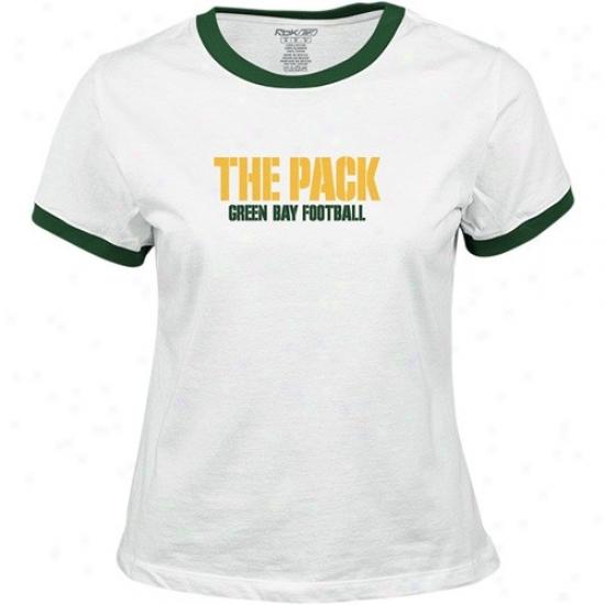 Green Bay Packers Apparel: Reebok Green Bay Packers Ladies White Wordplay T-shirt