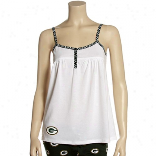 Green Bay Packers Apparel: Reebok Green Bay Packers Ladies White Splendid assemblage Tank Predominate