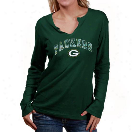 Green Bay Packers Dress: Reebok Green Baywood Packers Ladies Green Haarmony Long Sleeve T-shirt