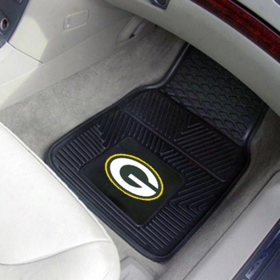 Green Bay Packers Black 2-piece Vlnyl Car Mat Set