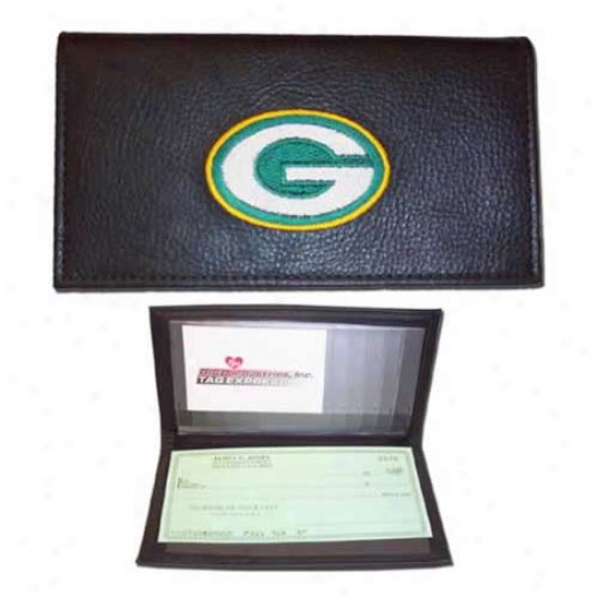 Inexperienced Bay Packess Black Embroidered Leather Checkbook Cover