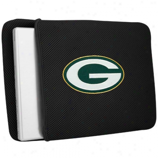 Green Bay Packers Black Mesh Laptop Protector