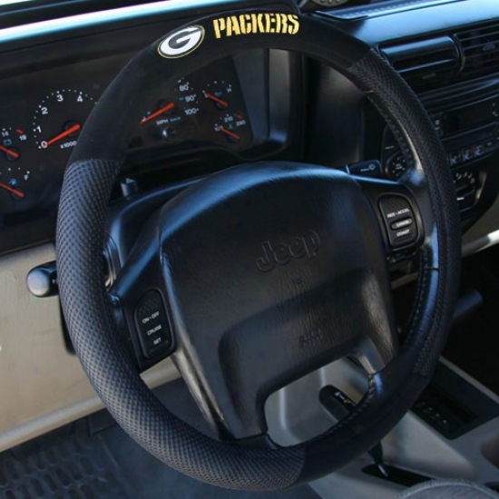 Green Bay Packers Black Steering Wheel Cover