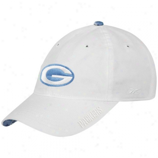 Green Bay Packers Cap : Reebok Green Bay Packers Ladies White Tonao Adjustable Slouch Cap