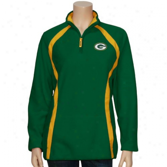Green Bight Packers Fleece : Green Bay Packers Ladies Green On Her Game 1/4 Zip Fleece Pullover