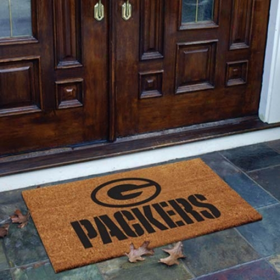 Green Bay Packers Flocked Coir Door Mat