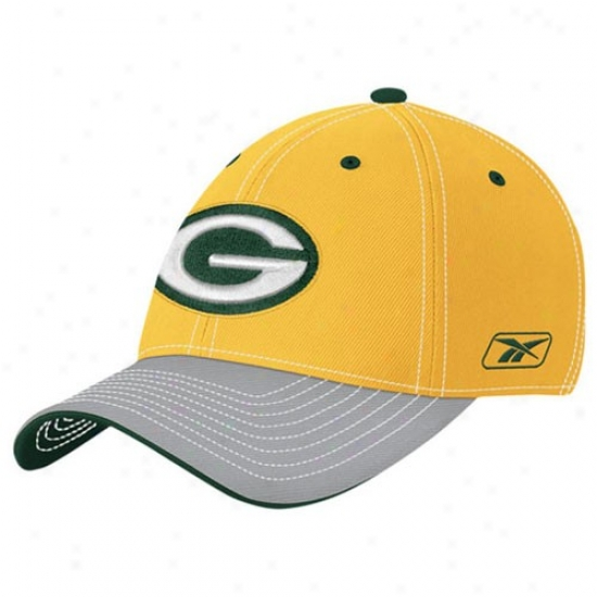 Green Baywood Packers Gear: Reebok Green Bay Packers Gold Yuoth Player 2nd Season Flex Fit Hat