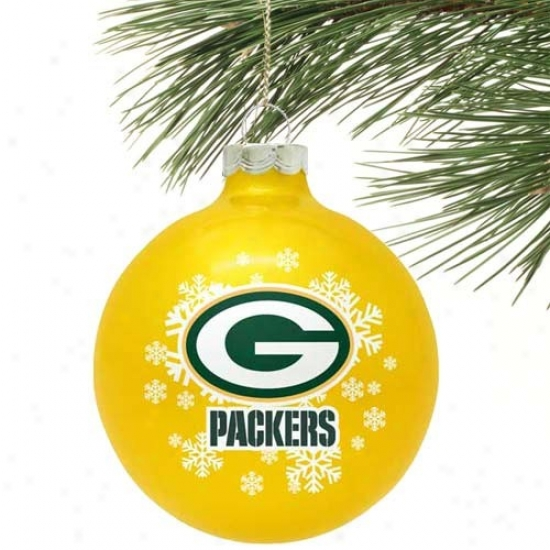 Green Bay Packers Gold Snowflake Glass Ornament