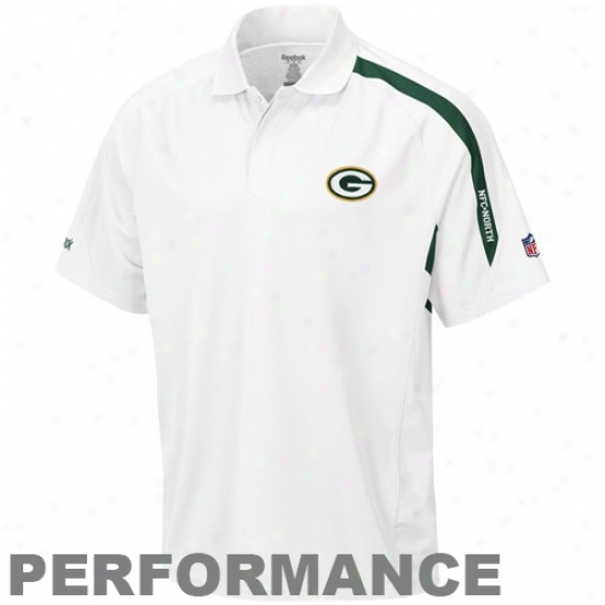Green Bark at Packers Golf Shiet : Reebok Green Bay Packere White Contact Performance Golf Shirt