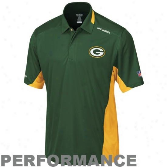 Green Bay Packers Golf Shirts : Reebok Green Bay Packers Green Grasp Sideline Performance Golf Shirts