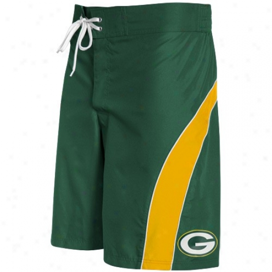 Green Check Packers Green-gold Color Block Boardshort