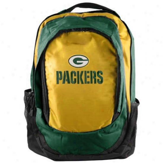 Green Bay Packers Green-gold Embroidered Team Logo Backpack