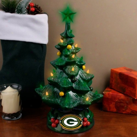 Green Bay Pacekrs Green-gold Lighted Resin Christmas Tree