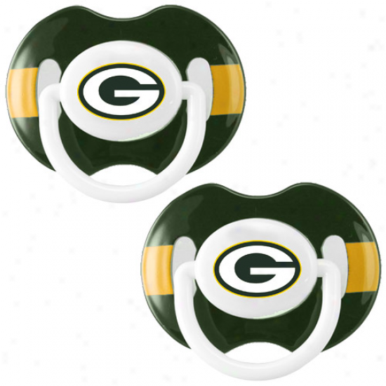 Green Bay Packers Green-gold Striped 2-pack Team Logo Pacifiers