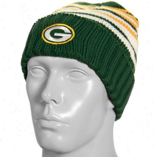 Green Bay Packers Cardinal's office : Reebok Green Bay Packers Green Pruning Sweater Knit Beanie