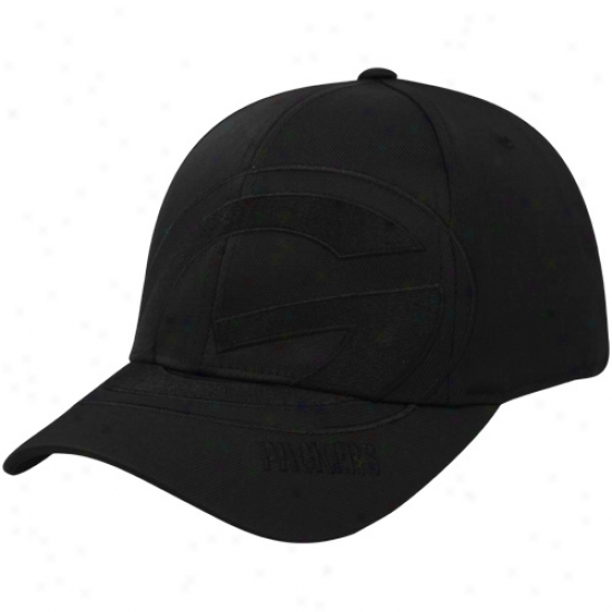 Green Bay Packers Hats : Reebok Green Bay Packers Black Tonal Structured Flex Be suited Hats