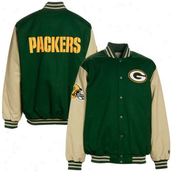 Gteen Bay Packers Jacket : Green Bay Packers Green-khaki Classic Exactly Button Canvas Jacket