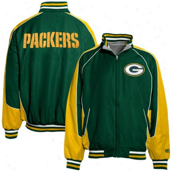 Green Bay Packers Jacket : Green Bay Packers Green-ash Reversible Full Zip Jacket