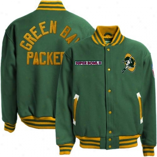 Green Bay Packers Jackets : Mitchell & Ness Green Bay Packers Green Halfback Throwback Wool Jackets